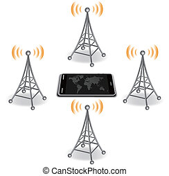 antennas around smart phone  - EPS 10
