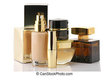 Cosmetic set - Set of gold cosmetic products isolated on...