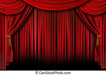Red Drapes With Deep Shadows - Red Stage Theater Drapes With...