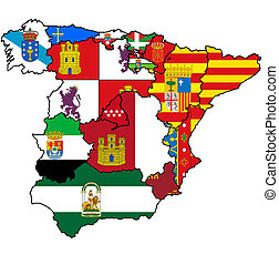 administration map of spain - administration map of regions...