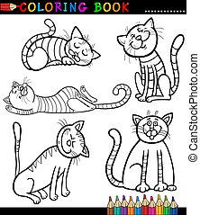 caricatura, gatos, o, gatitos, colorido, libro