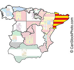 region of catalonia - catalonia region on administration map...