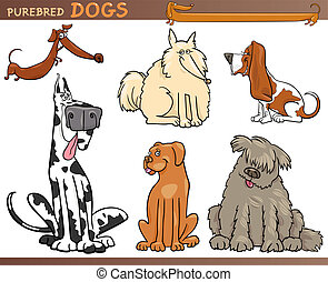 Dog breeds cartoon set - Cartoon Comic Illustration of...
