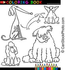 Cartoon Dogs or Puppies for Coloring Book