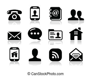 Contact icons set - mobile, user - Contact icons set for web...