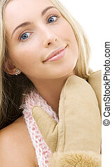 mittens - picture of lovely woman in comforter and mittens...