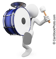 3D white people. Playing drums - 3d white person marching...