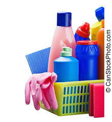 various cleaning products isolated on white background with...