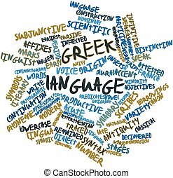 Greek language - Abstract word cloud for Greek language with...
