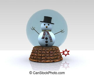 Nice glass ball with Snowman - 3D - Nice glass ball with...