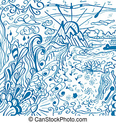 Abstract nature doodles. Vector hand drawn texture