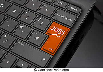 Job search Return Key symbolizing the searching of internet...