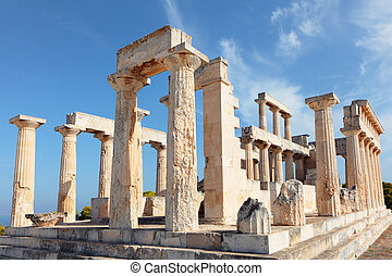 A view of the Doric temple of Aphaia on Aegina island in the...