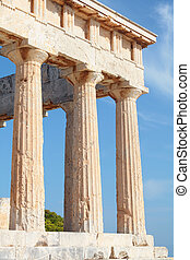 Columns of Aphaia - A view of the Doric temple of Aphaia on...
