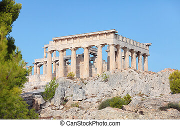 Temple of Aphaia, Aegina - A view of the Doric temple of...