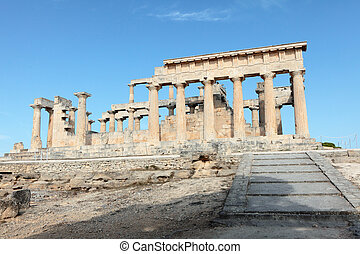 Temple of Aphaia in Aegina - The entrance to the Doric...