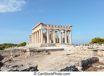 Temple of Aphaia in Aegina - A view of the Doric temple of...