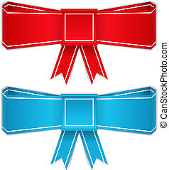 Red and blue bows, origami style