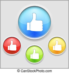 Thumbs up icon, vector eps10 illustration