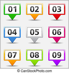 Map pins with numbers - Set of map pins with numbers, vector...