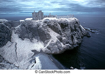 Dunnottar Castle ruined medieval fortress located upon a...