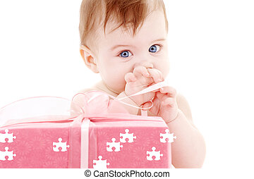 baby boy with puzzle gift box - puzzle picture of baby boy...