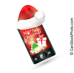 smartphone with Santas red hat Mobile Phone - Christmas...