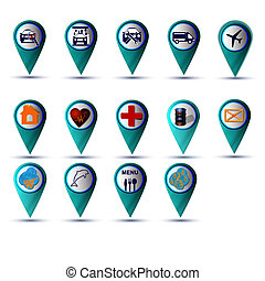 GPS icon set blue