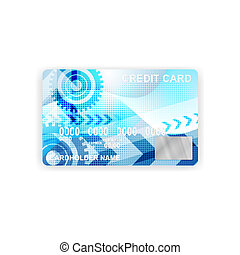 A credit card with a blue background abstraction. business concept