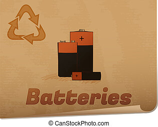 Recycling batteries memo/Retro recycling banner with...
