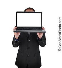 laptop, computador, branca, negócio, homem