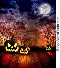 asustadizo, Halloween, calabazas, noche