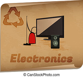 Recycling electronics memoRetro recycling banner with...