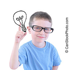 Smart School Boy with Light Bulb - A young boy is holding a...