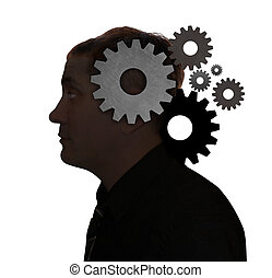 Idea Man Thinking with Gears in Head - A mans head is filled...