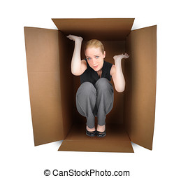 Business Woman Trapped in Box - A business woman is trapped...