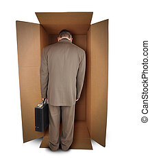 Business Man Unhappy Job in Box - A trapped business man is...