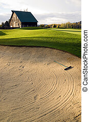 Sand Trap - Rural golf course at sunset