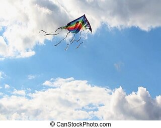 Flying kite - Kite is flying in a blue sky