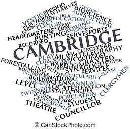 Cambridge - Abstract word cloud for Cambridge with related...