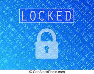 Locked Data Background - Hexadecimal numbers and letters...
