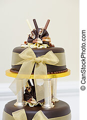 Chocolate wedding cake detail