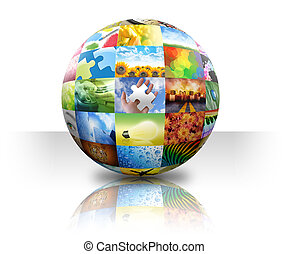 Picture Photo Gallery Ball on White - A 3D ball photo...
