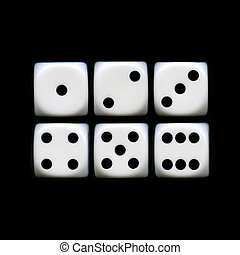 Six Sides of A Dice - The six sides of a Dice on a black...