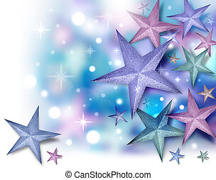Glitter Star Background with Twinkles - A purple, blue and...
