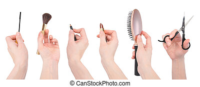 Hairdresser Salon Makeup Tools on White - A variety of salon...