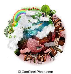 limpo, ar, poluído, terra, mistura