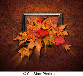 Fall Leaves Coming Out of Antique Frame - Fall leaves are...