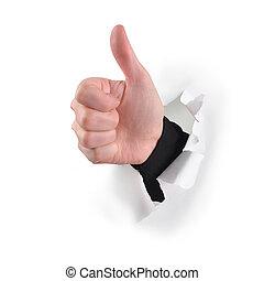 polegares, cima, semelhante, mão, branca