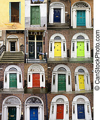 Colorful doors collage - A photo collage of 16 colourful...